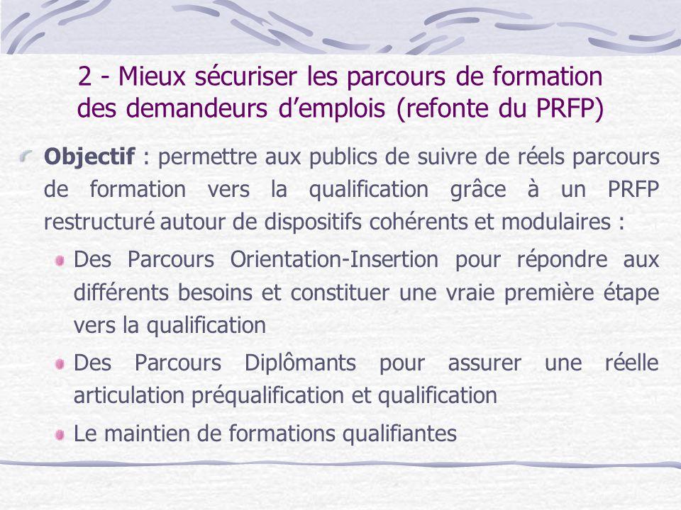 2 - Mieux sécuriser les parcours de formation des demandeurs demplois (refonte du PRFP) Objectif : permettre aux publics de suivre de réels parcours d