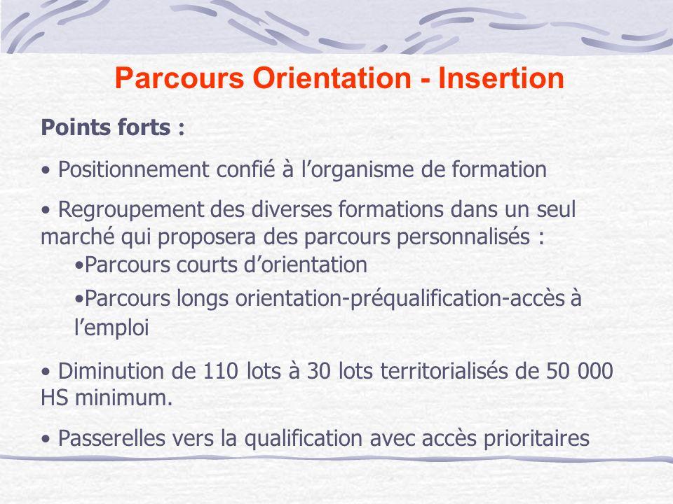Parcours Orientation - Insertion Points forts : Positionnement confié à lorganisme de formation Regroupement des diverses formations dans un seul marc