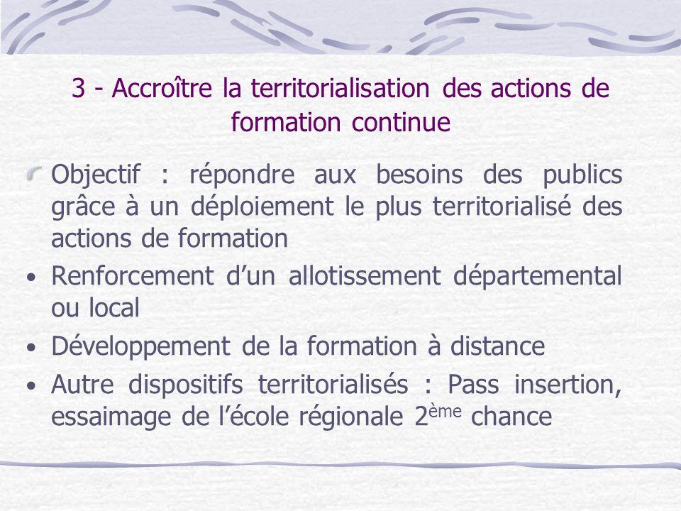3 - Accroître la territorialisation des actions de formation continue Objectif : répondre aux besoins des publics grâce à un déploiement le plus terri