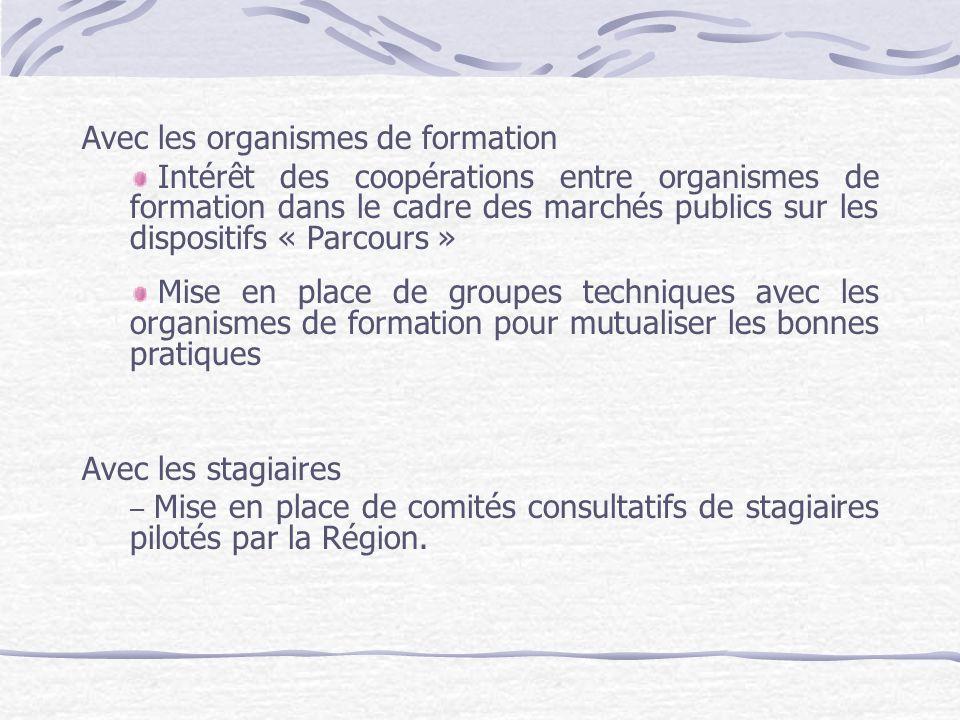 Avec les organismes de formation Intérêt des coopérations entre organismes de formation dans le cadre des marchés publics sur les dispositifs « Parcou