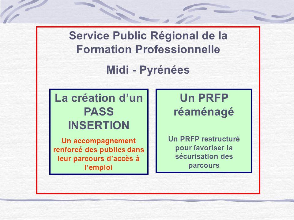 Service Public Régional de la Formation Professionnelle Midi - Pyrénées Un PRFP réaménagé Un PRFP restructuré pour favoriser la sécurisation des parco
