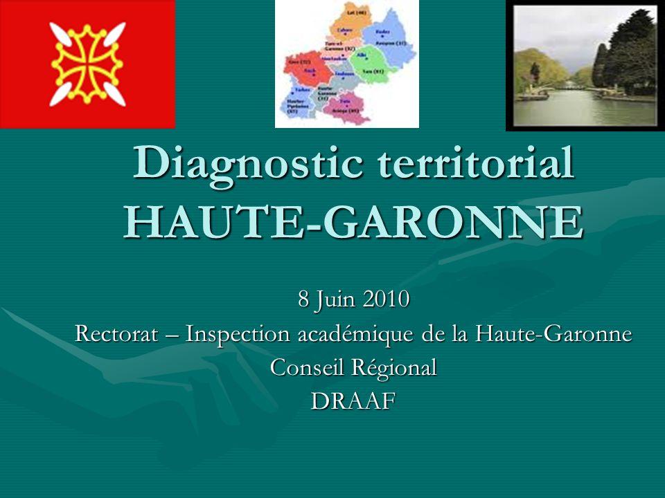Diagnostic territorial HAUTE-GARONNE 8 Juin 2010 Rectorat – Inspection académique de la Haute-Garonne Conseil Régional DRAAF