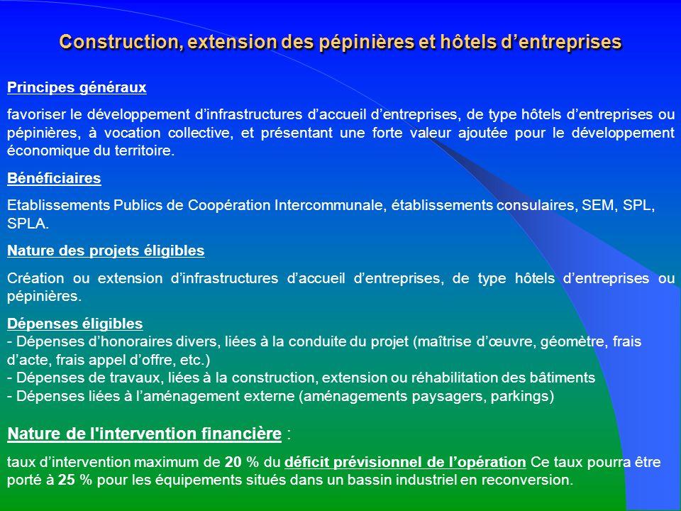 Construction, extension des pépinières et hôtels dentreprises Principes généraux favoriser le développement dinfrastructures daccueil dentreprises, de