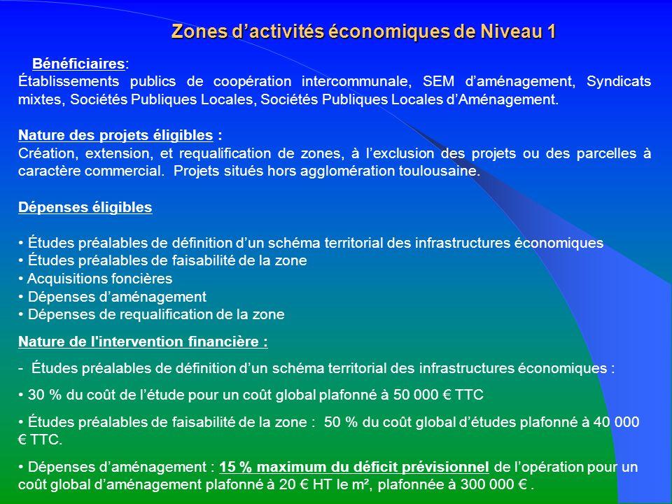 Zones dactivités économiques de Niveau 1 Bénéficiaires: Établissements publics de coopération intercommunale, SEM daménagement, Syndicats mixtes, Soci