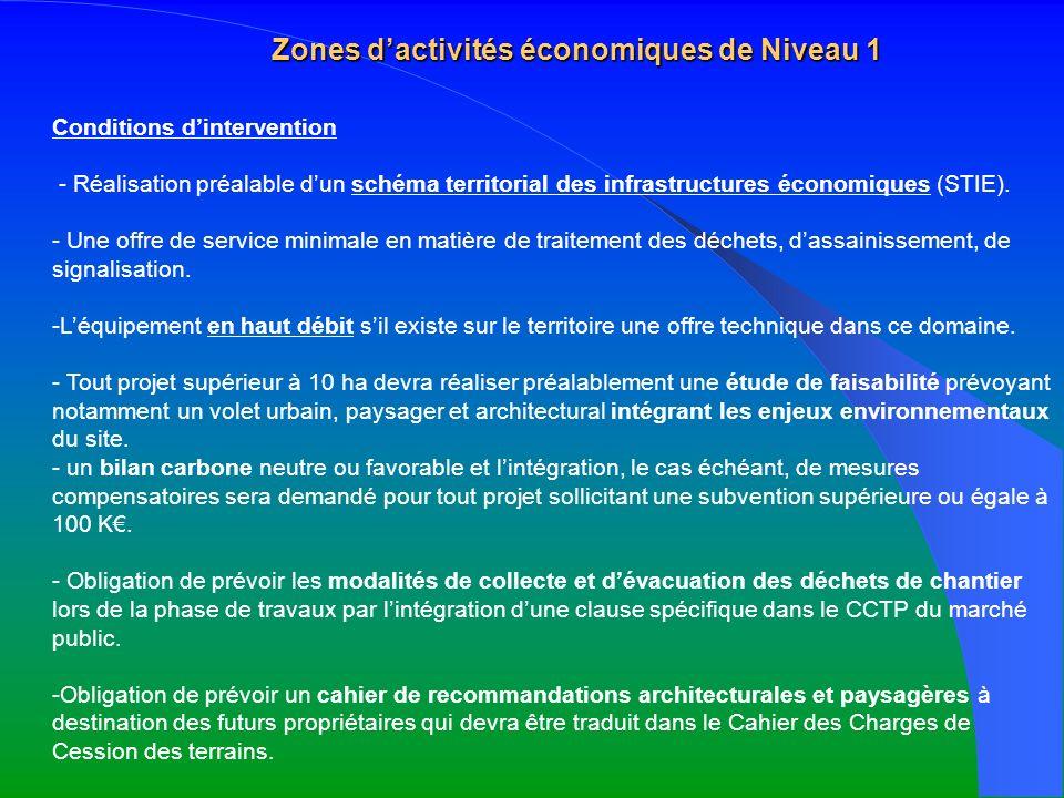 Zones dactivités économiques de Niveau 1 Conditions dintervention - Réalisation préalable dun schéma territorial des infrastructures économiques (STIE