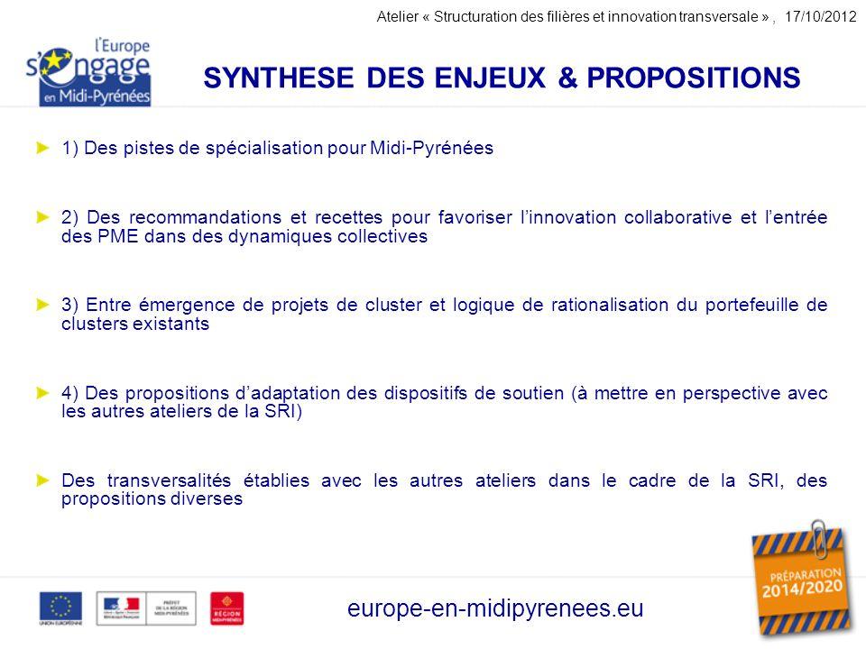 SYNTHESE DES ENJEUX & PROPOSITIONS 1) Des pistes de spécialisation pour Midi-Pyrénées 2) Des recommandations et recettes pour favoriser linnovation co