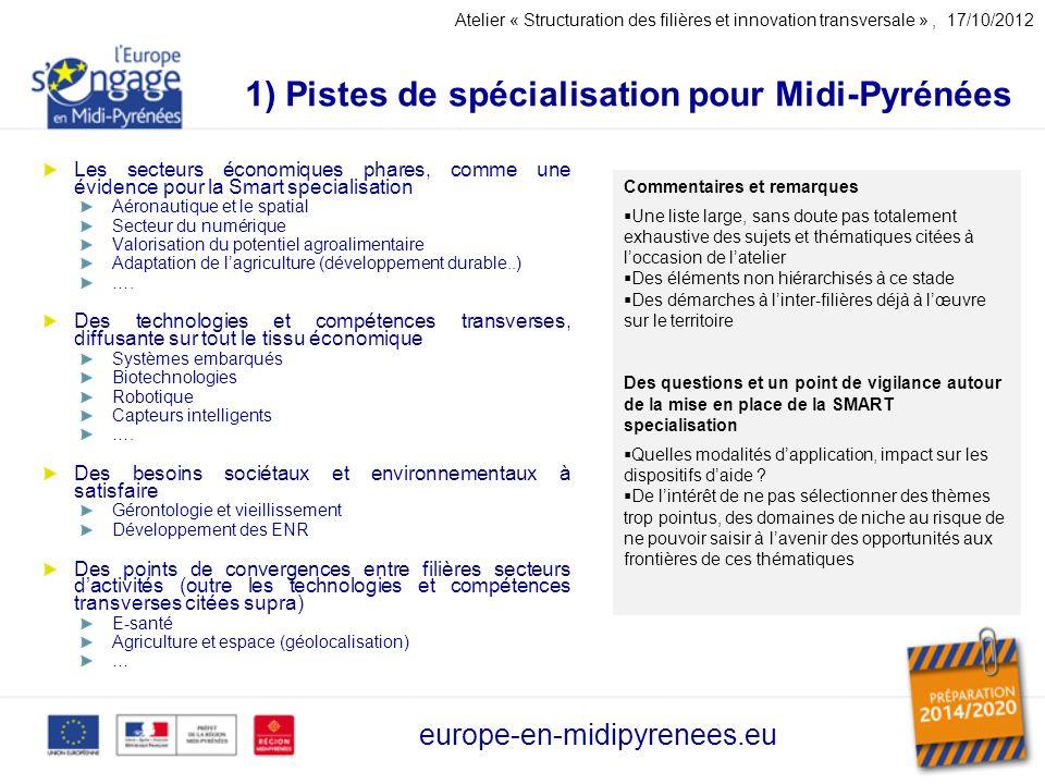 1) Pistes de spécialisation pour Midi-Pyrénées Les secteurs économiques phares, comme une évidence pour la Smart specialisation Aéronautique et le spatial Secteur du numérique Valorisation du potentiel agroalimentaire Adaptation de lagriculture (développement durable..) ….