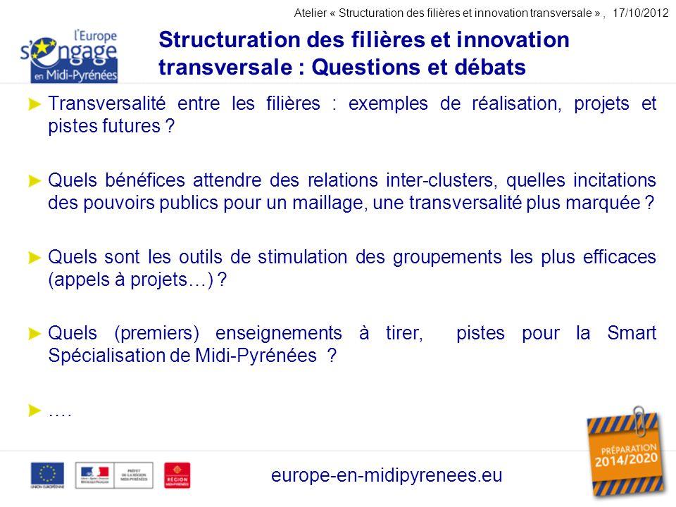 Structuration des filières et innovation transversale : Questions et débats europe-en-midipyrenees.eu Transversalité entre les filières : exemples de