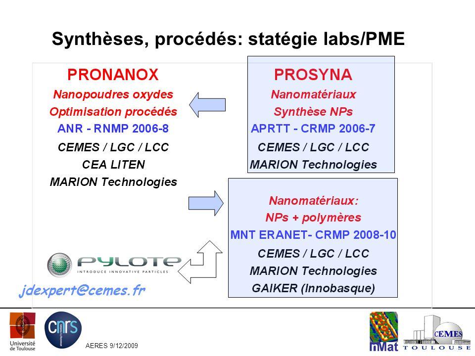 AERES 9/12/2009 Synthèses, procédés: statégie labs/PME jdexpert@cemes.fr