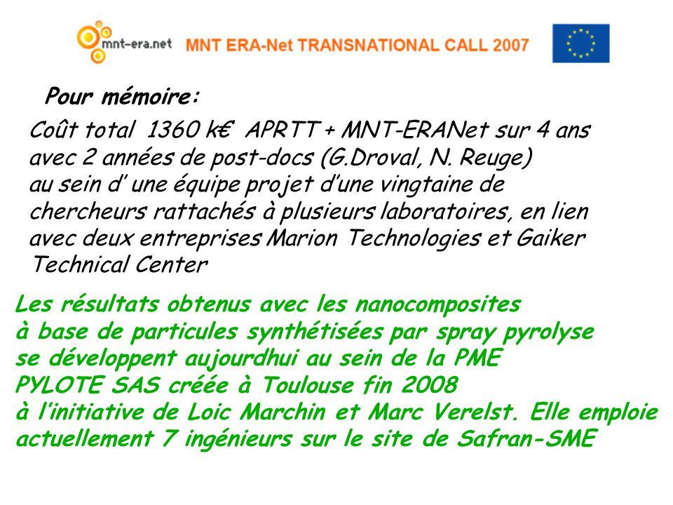 Pour mémoire: Coût total 1360 k APRTT + MNT-ERANet sur 4 ans avec 2 années de post-docs (G.Droval, N. Reuge) au sein d une équipe projet dune vingtain