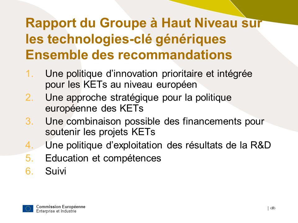 Commission Européenne Enterprise et Industrie | # Rapport du Groupe à Haut Niveau sur les technologies-clé génériques Ensemble des recommandations 1.U