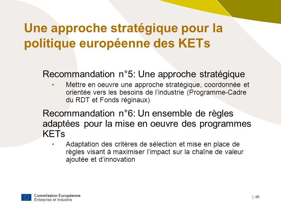 Commission Européenne Enterprise et Industrie | # Une approche stratégique pour la politique européenne des KETs Recommandation n°5: Une approche stra
