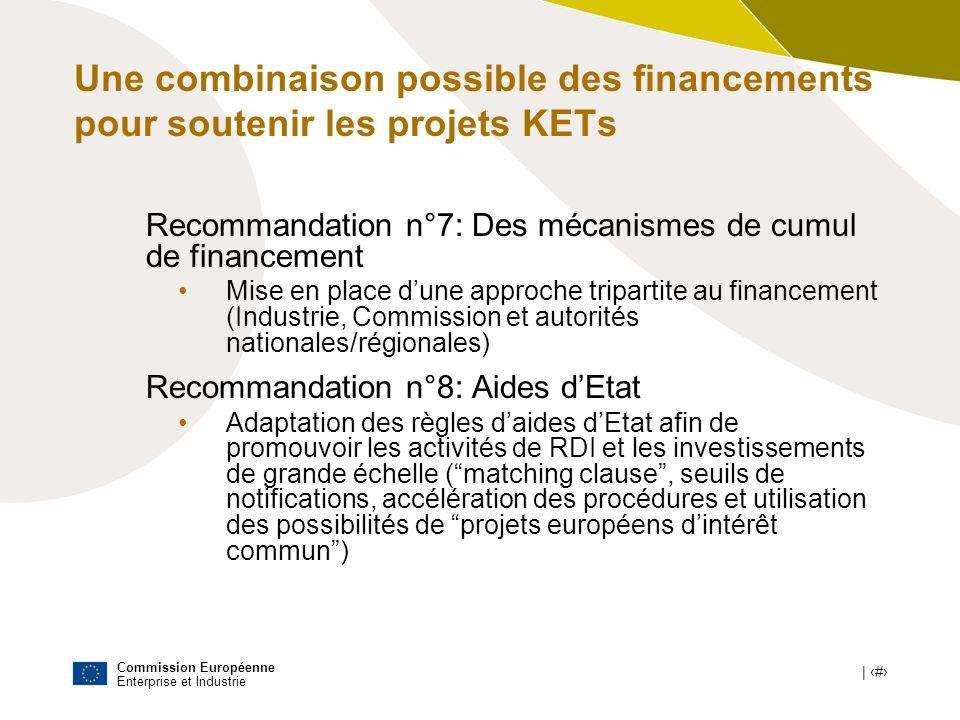 Commission Européenne Enterprise et Industrie | # Une combinaison possible des financements pour soutenir les projets KETs Recommandation n°7: Des méc