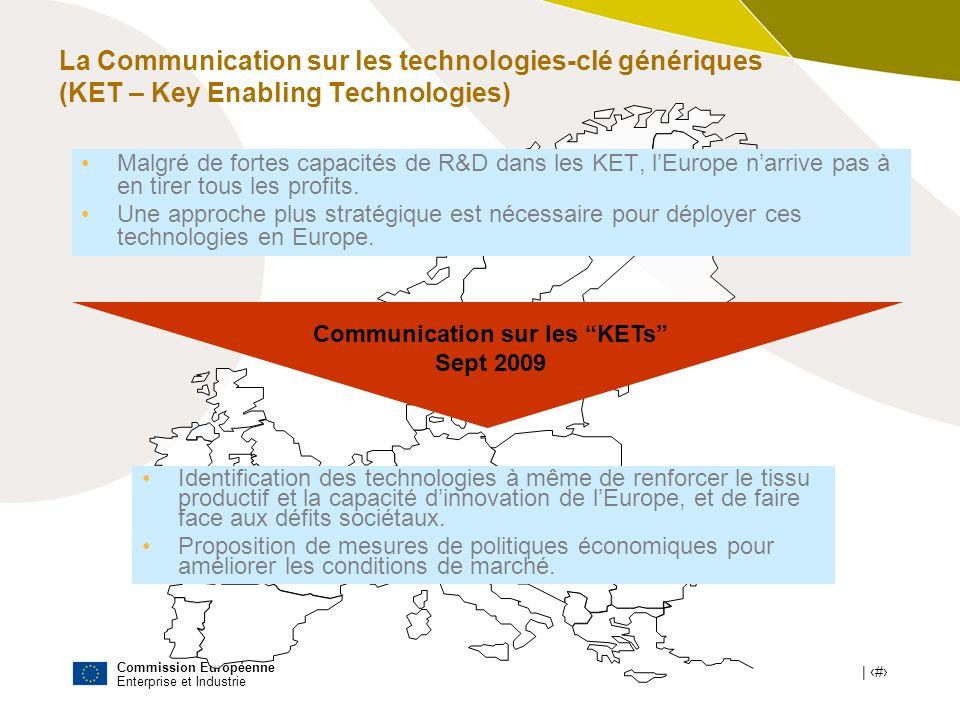 Commission Européenne Enterprise et Industrie | # Communication sur les KETs Sept 2009 Malgré de fortes capacités de R&D dans les KET, lEurope narrive