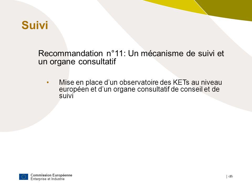 Commission Européenne Enterprise et Industrie | # Recommandation n°11: Un mécanisme de suivi et un organe consultatif Mise en place dun observatoire d