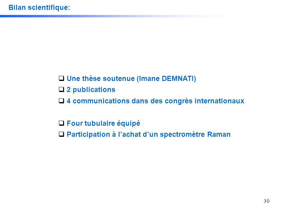 30 Bilan scientifique: Une thèse soutenue (Imane DEMNATI) 2 publications 4 communications dans des congrès internationaux Four tubulaire équipé Partic