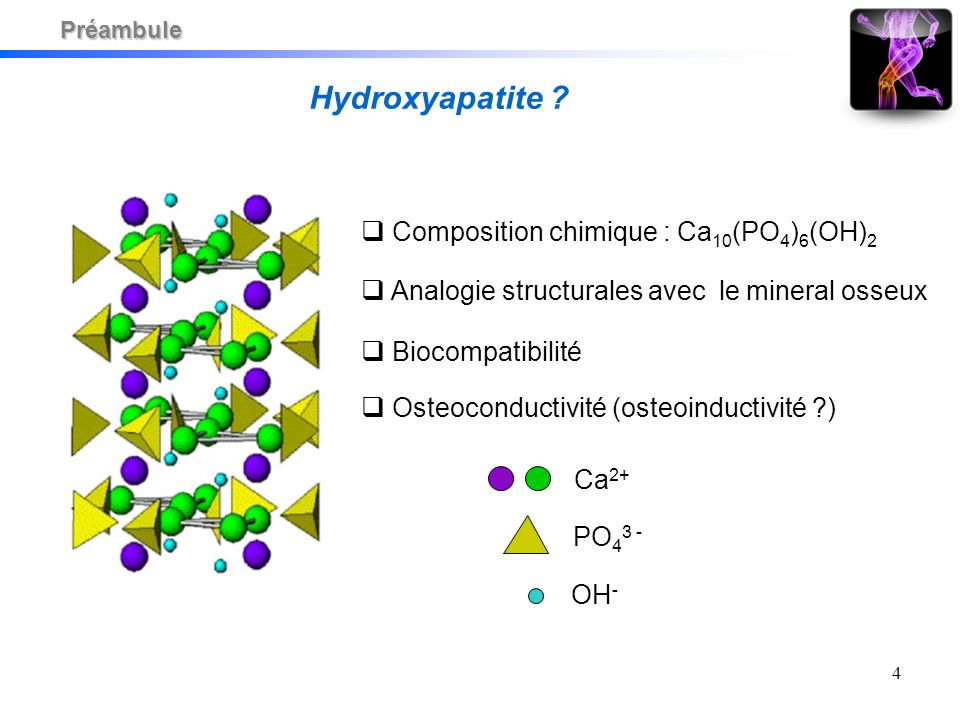 4 PO 4 3 - OH - Ca 2+ Composition chimique : Ca 10 (PO 4 ) 6 (OH) 2 Hydroxyapatite .