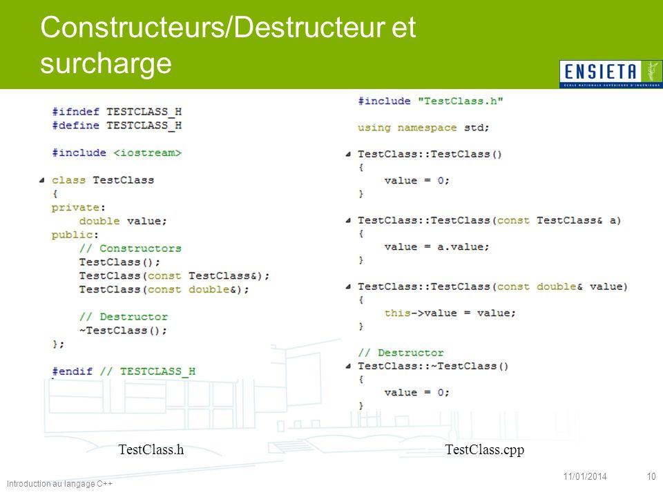 Introduction au langage C++ 11/01/201410 Constructeurs/Destructeur et surcharge TestClass.cppTestClass.h