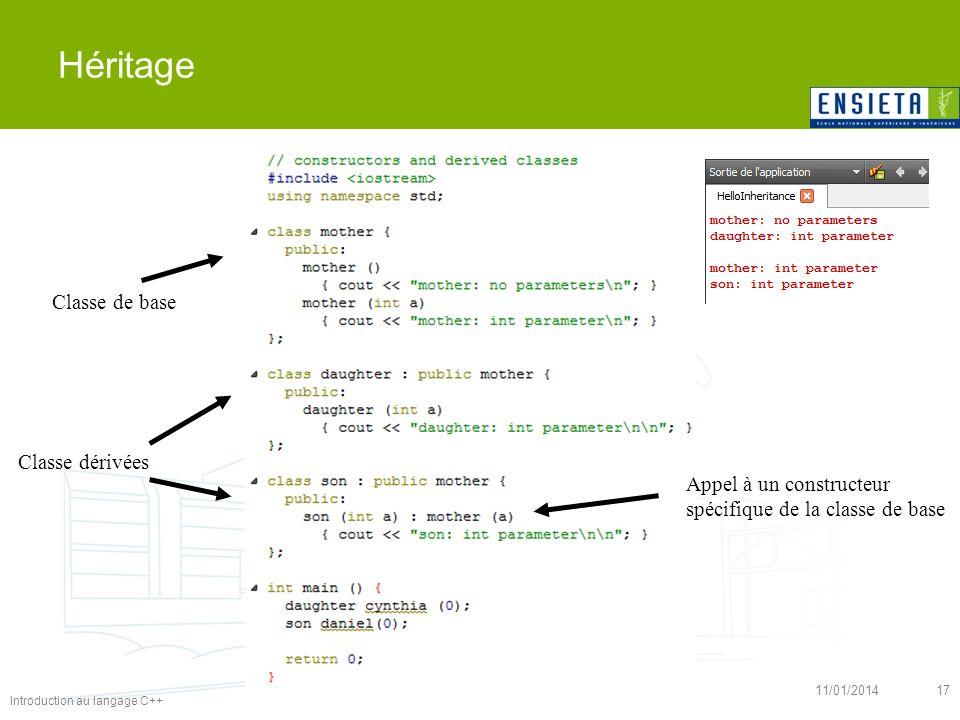 Introduction au langage C++ 11/01/201417 Héritage Classe de base Classe dérivées Appel à un constructeur spécifique de la classe de base