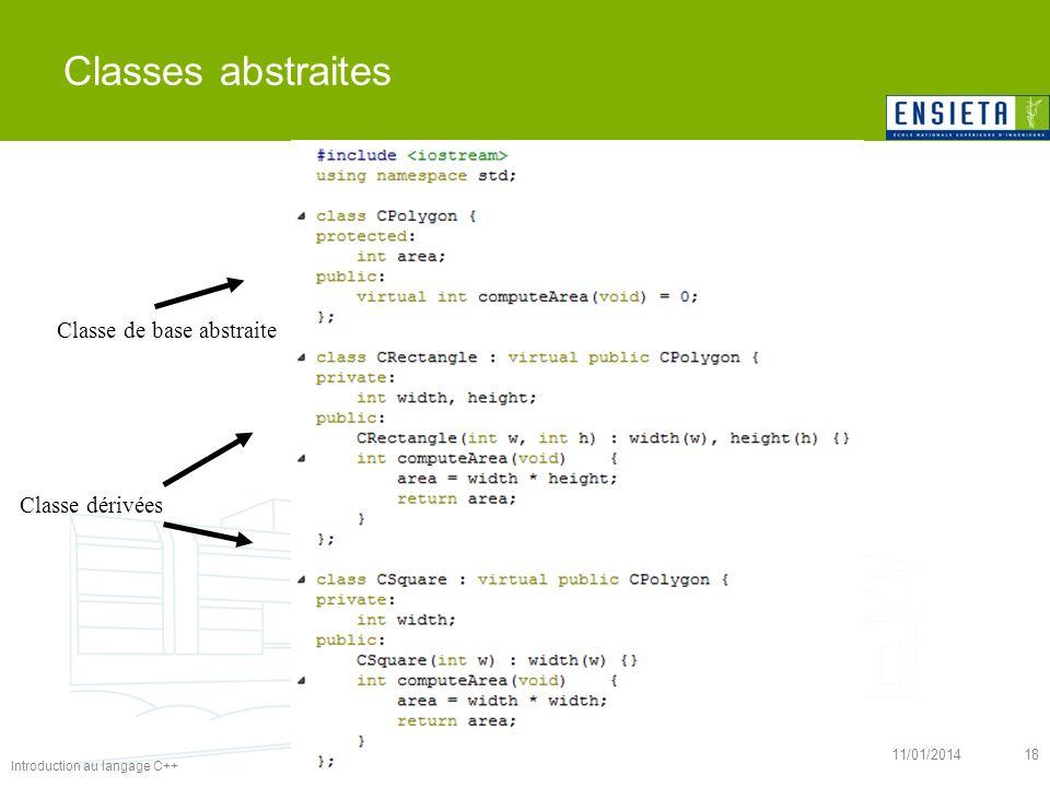 Introduction au langage C++ 11/01/201418 Classes abstraites Classe de base abstraite Classe dérivées