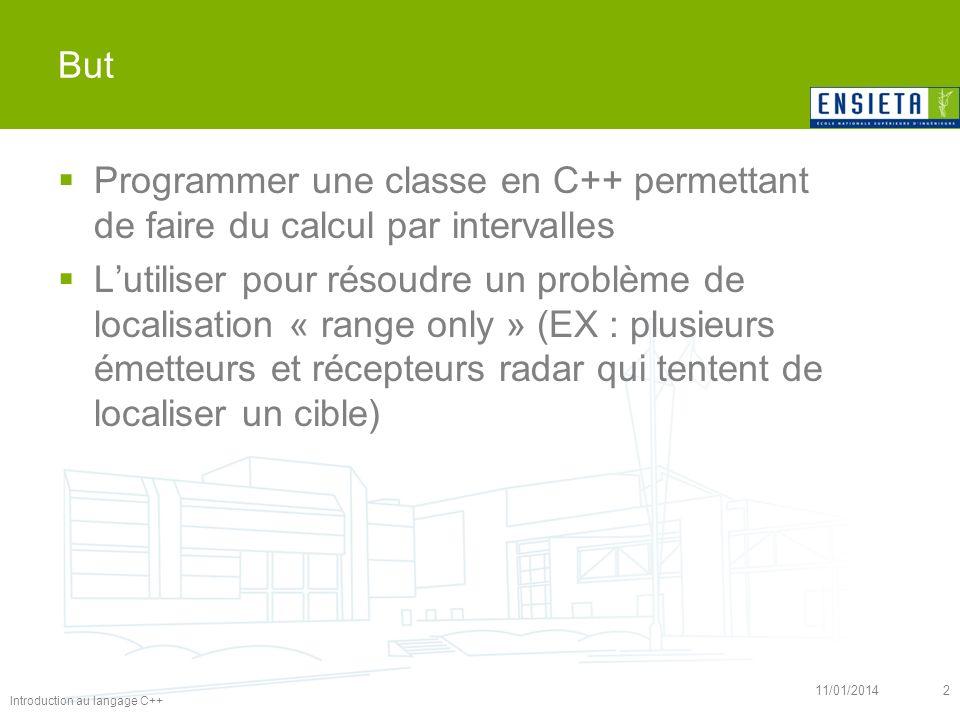 11/01/20142 But Programmer une classe en C++ permettant de faire du calcul par intervalles Lutiliser pour résoudre un problème de localisation « range