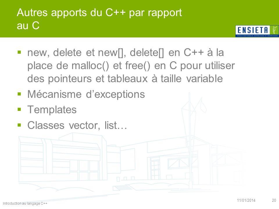 Introduction au langage C++ 11/01/201420 Autres apports du C++ par rapport au C new, delete et new[], delete[] en C++ à la place de malloc() et free()