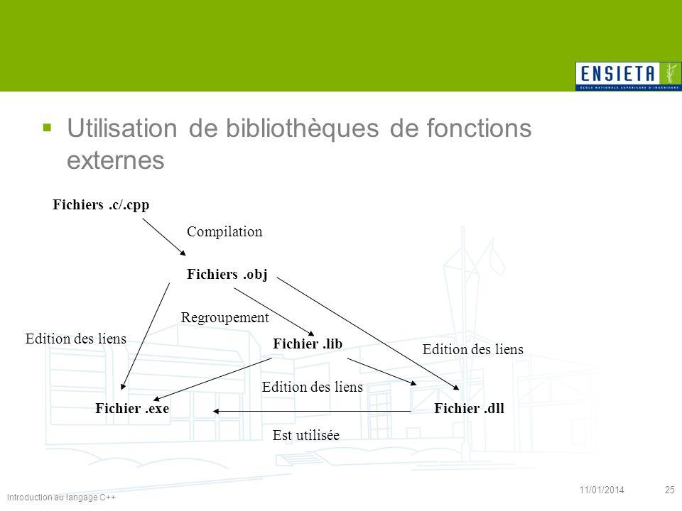 Introduction au langage C++ 11/01/201425 Utilisation de bibliothèques de fonctions externes Fichiers.c/.cpp Fichiers.obj Fichier.exe Fichier.lib Fichi