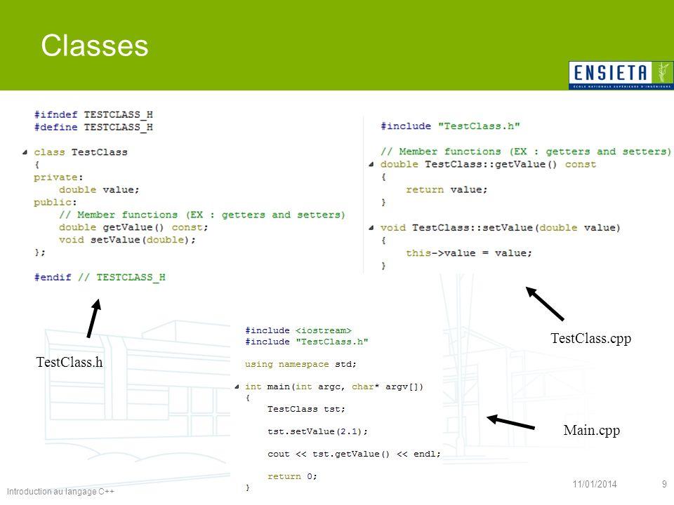 Introduction au langage C++ 11/01/20149 Classes TestClass.cpp TestClass.h Main.cpp