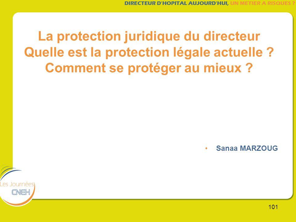 101 La protection juridique du directeur Quelle est la protection légale actuelle ? Comment se protéger au mieux ? Sanaa MARZOUG