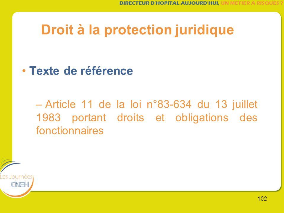 102 Droit à la protection juridique Texte de référence – Article 11 de la loi n°83-634 du 13 juillet 1983 portant droits et obligations des fonctionna