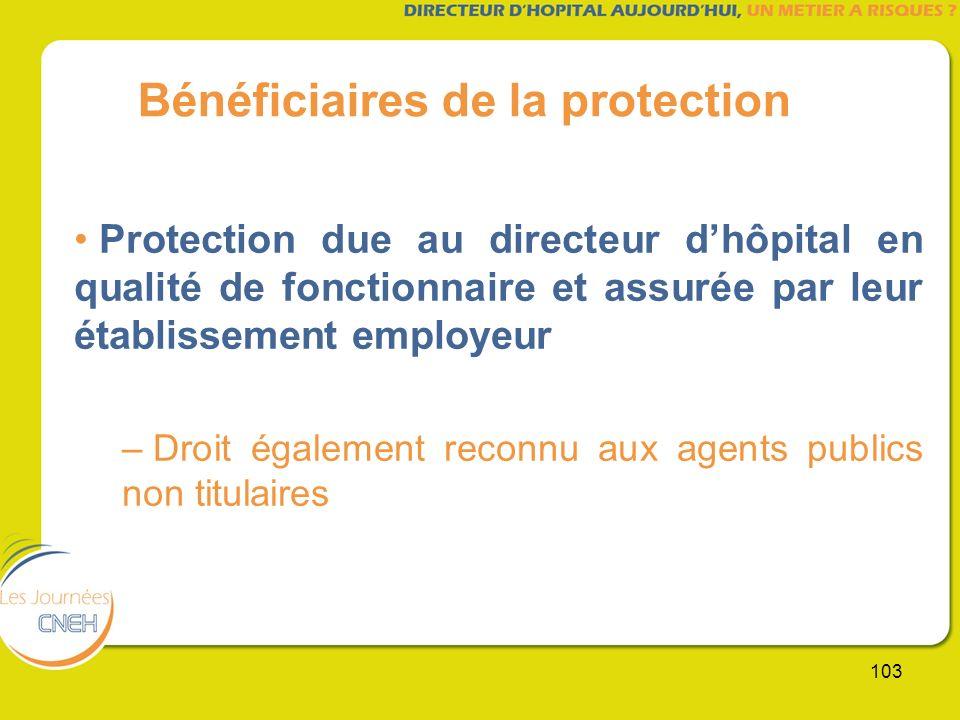 103 Bénéficiaires de la protection Protection due au directeur dhôpital en qualité de fonctionnaire et assurée par leur établissement employeur – Droi