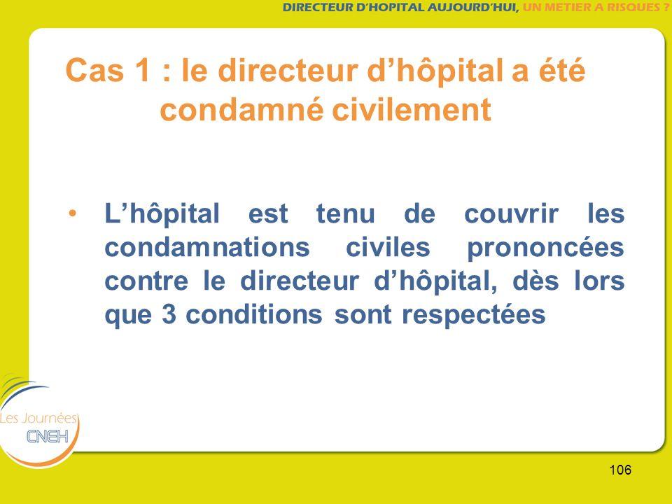 106 Cas 1 : le directeur dhôpital a été condamné civilement Lhôpital est tenu de couvrir les condamnations civiles prononcées contre le directeur dhôp