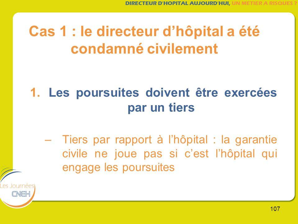 107 Cas 1 : le directeur dhôpital a été condamné civilement 1.Les poursuites doivent être exercées par un tiers –Tiers par rapport à lhôpital : la gar