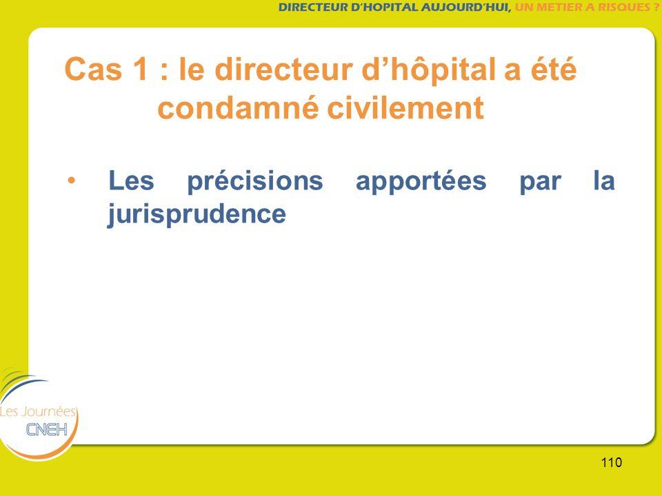 110 Cas 1 : le directeur dhôpital a été condamné civilement Les précisions apportées par la jurisprudence