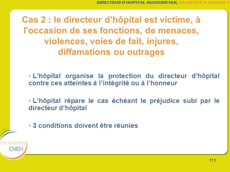 111 Cas 2 : le directeur dhôpital est victime, à l'occasion de ses fonctions, de menaces, violences, voies de fait, injures, diffamations ou outrages