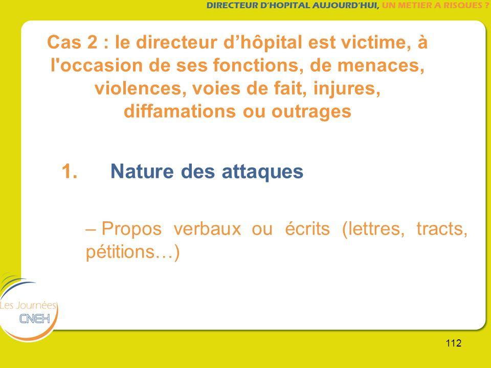 112 Cas 2 : le directeur dhôpital est victime, à l'occasion de ses fonctions, de menaces, violences, voies de fait, injures, diffamations ou outrages