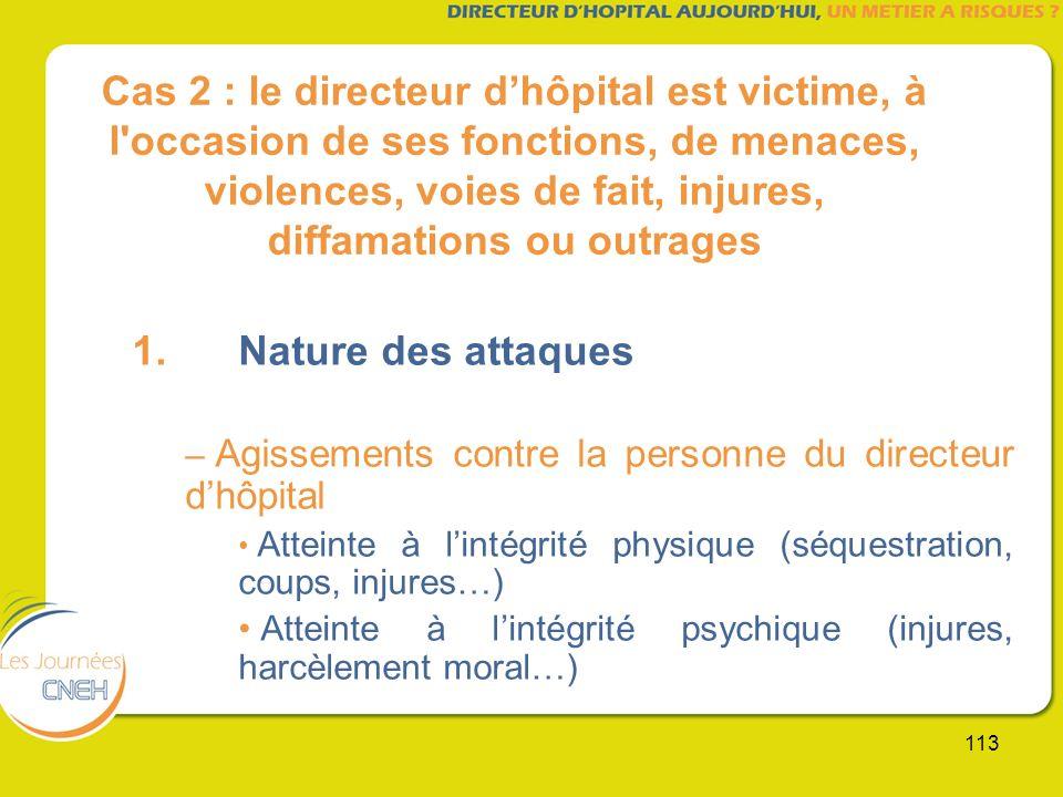 113 Cas 2 : le directeur dhôpital est victime, à l'occasion de ses fonctions, de menaces, violences, voies de fait, injures, diffamations ou outrages