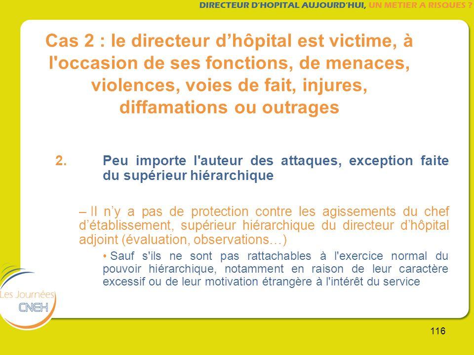 116 Cas 2 : le directeur dhôpital est victime, à l'occasion de ses fonctions, de menaces, violences, voies de fait, injures, diffamations ou outrages