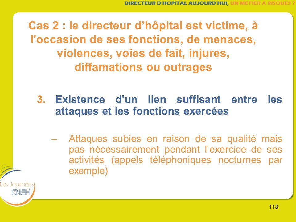118 Cas 2 : le directeur dhôpital est victime, à l'occasion de ses fonctions, de menaces, violences, voies de fait, injures, diffamations ou outrages