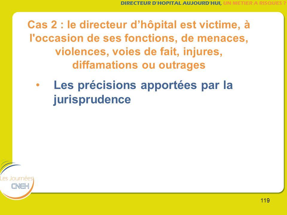 119 Cas 2 : le directeur dhôpital est victime, à l'occasion de ses fonctions, de menaces, violences, voies de fait, injures, diffamations ou outrages