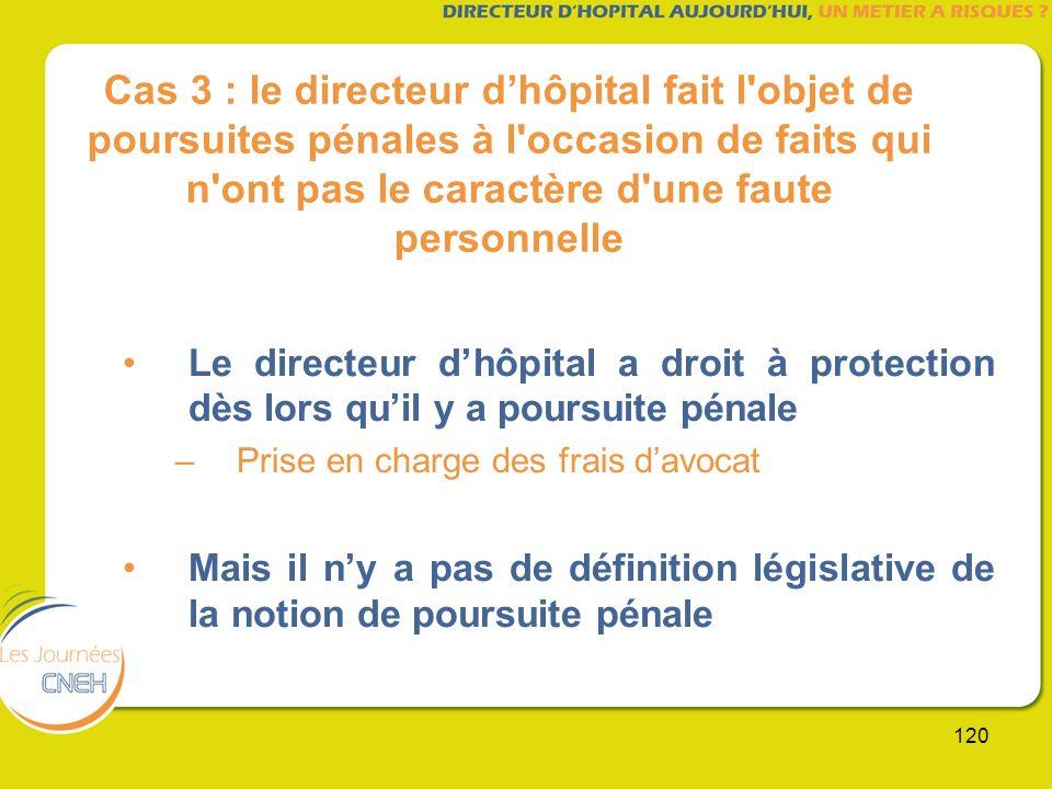 120 Cas 3 : le directeur dhôpital fait l'objet de poursuites pénales à l'occasion de faits qui n'ont pas le caractère d'une faute personnelle Le direc
