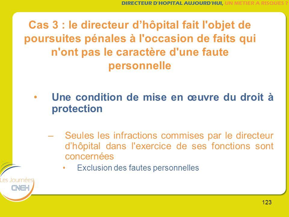 123 Cas 3 : le directeur dhôpital fait l'objet de poursuites pénales à l'occasion de faits qui n'ont pas le caractère d'une faute personnelle Une cond