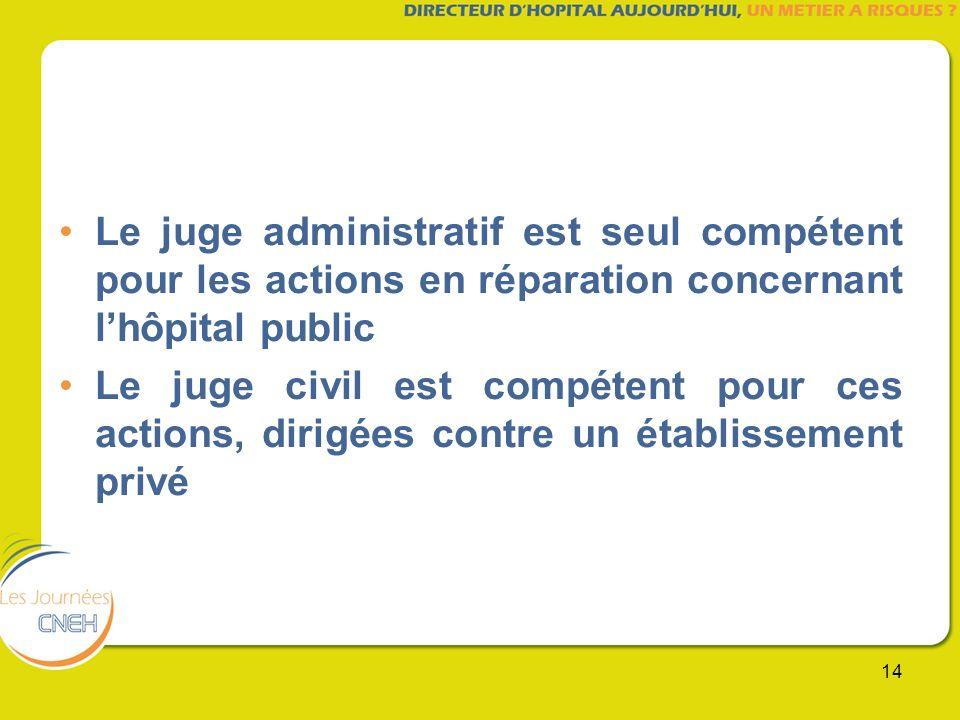 14 Le juge administratif est seul compétent pour les actions en réparation concernant lhôpital public Le juge civil est compétent pour ces actions, di