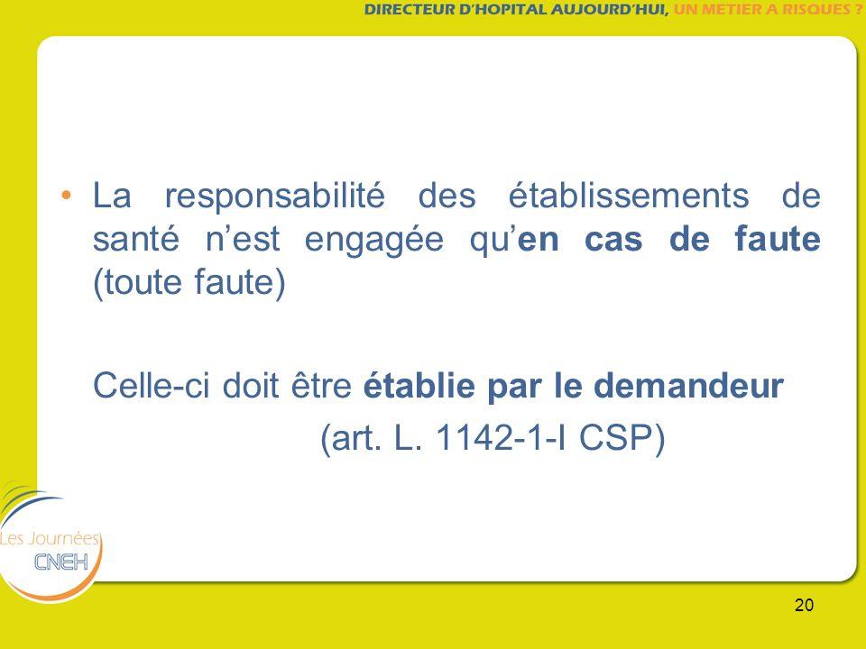 20 La responsabilité des établissements de santé nest engagée quen cas de faute (toute faute) Celle-ci doit être établie par le demandeur (art. L. 114