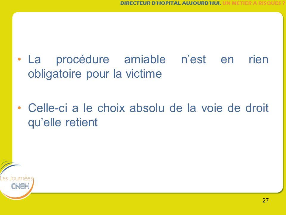 27 La procédure amiable nest en rien obligatoire pour la victime Celle-ci a le choix absolu de la voie de droit quelle retient