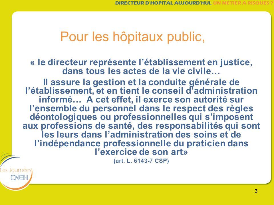 3 Pour les hôpitaux public, « le directeur représente létablissement en justice, dans tous les actes de la vie civile… Il assure la gestion et la cond