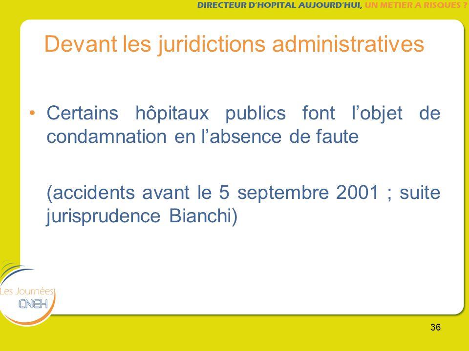 36 Devant les juridictions administratives Certains hôpitaux publics font lobjet de condamnation en labsence de faute (accidents avant le 5 septembre