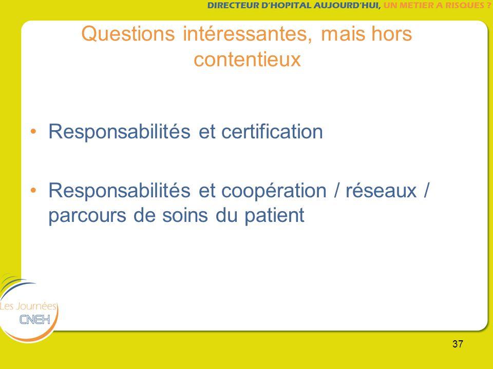 37 Questions intéressantes, mais hors contentieux Responsabilités et certification Responsabilités et coopération / réseaux / parcours de soins du pat