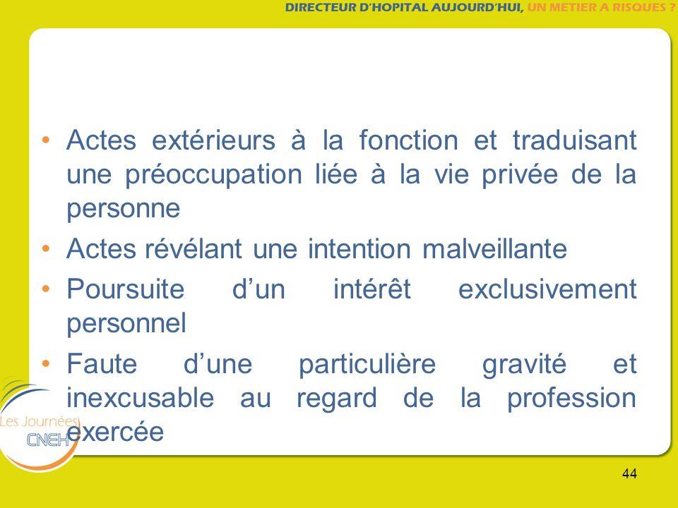 44 Actes extérieurs à la fonction et traduisant une préoccupation liée à la vie privée de la personne Actes révélant une intention malveillante Poursu