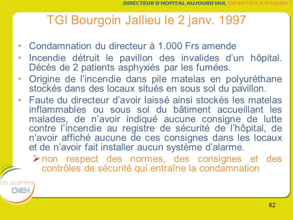62 TGI Bourgoin Jallieu le 2 janv. 1997 Condamnation du directeur à 1.000 Frs amende Incendie détruit le pavillon des invalides dun hôpital. Décès de